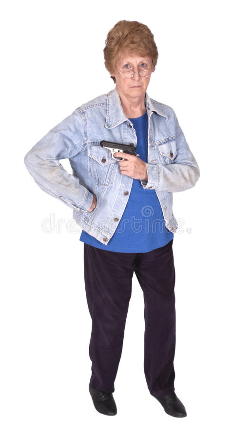 Funny Tough Mature Senior Woman, Hold Gun Isolated Royalty Free Stock Photos