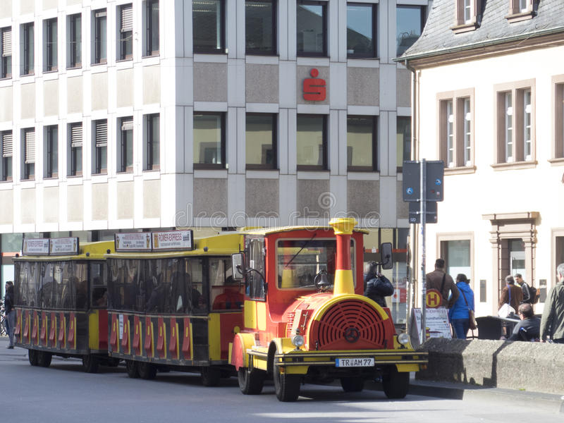 Funny tourist car in the centre of Trier stock image