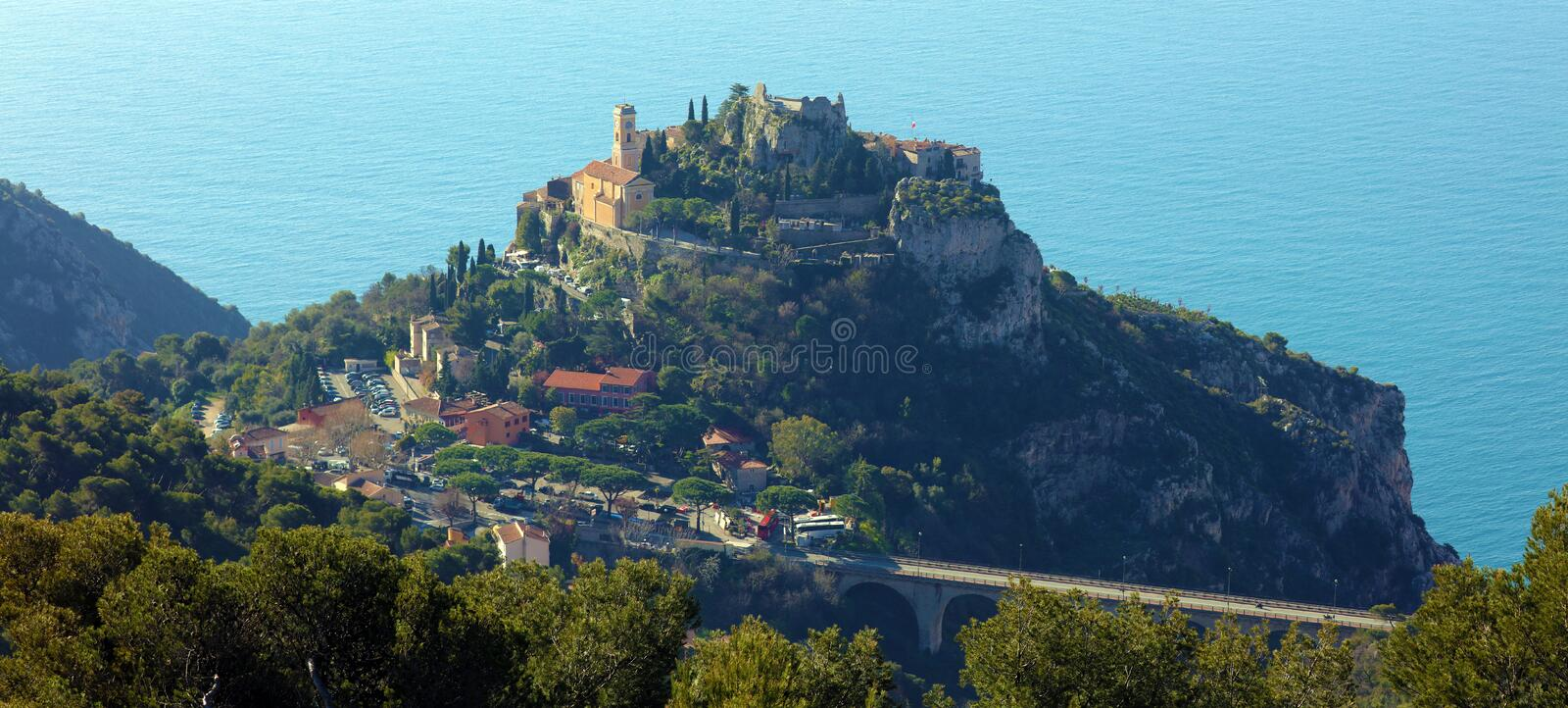 Eze village French riviera, Côte d`Azur, mediterranean coast, Eze, Saint-Tropez, Cannes and Monaco. Blue water and luxury yachts. French riviera, Côte d` royalty free stock images