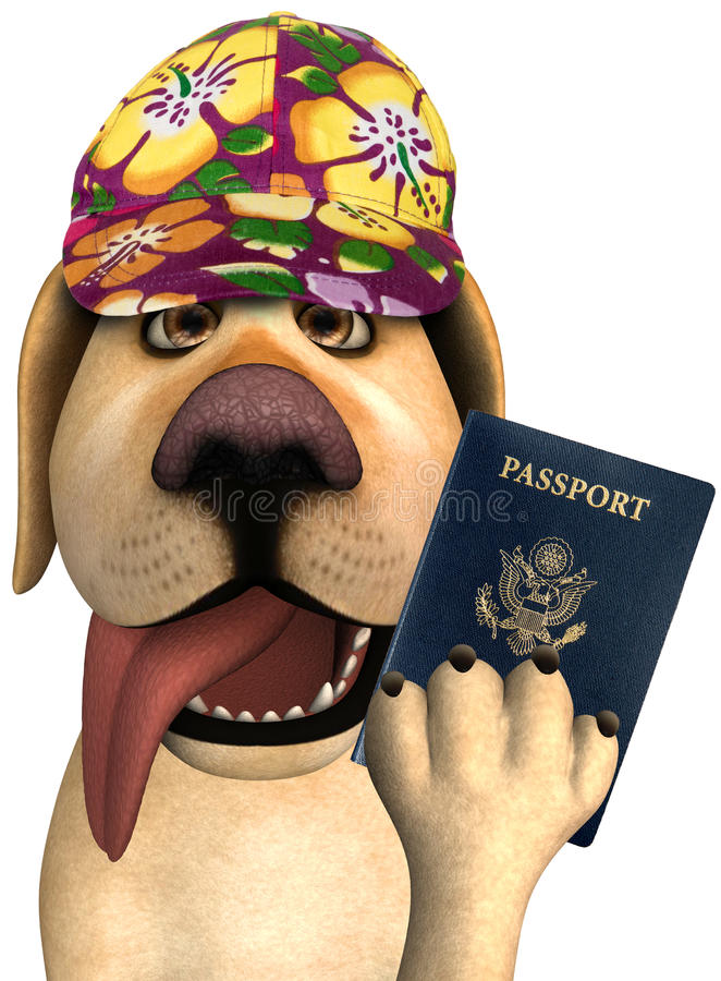 Funny Tourist Travel Passport Dog. Fun and funny illustration of a travel tourist dog who is holding a passport. If you travel abroad on vacation or holiday you stock illustration