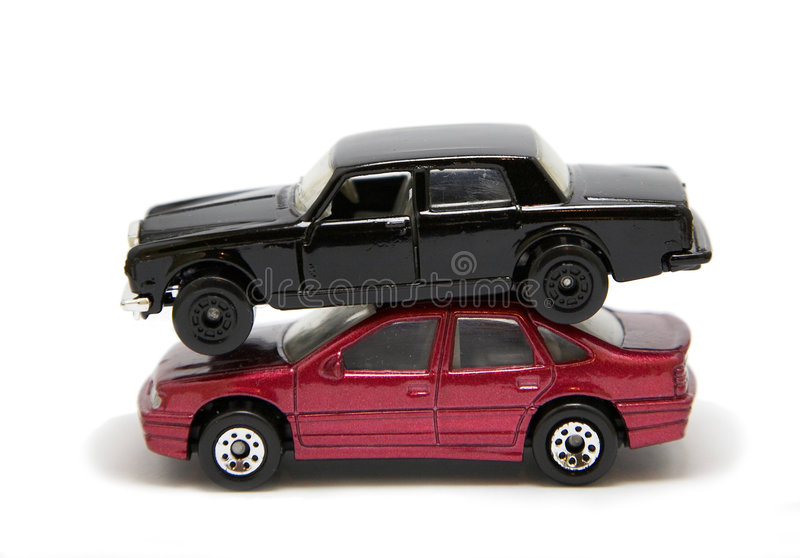 Funny toy car stack royalty free stock photography