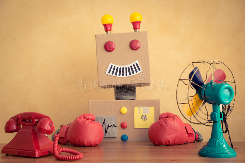 Funny toy robot. Innovation technology and creative concept royalty free stock photography