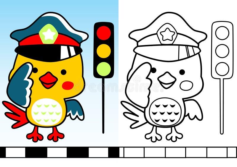 Funny traffic cop cartoon stock illustration