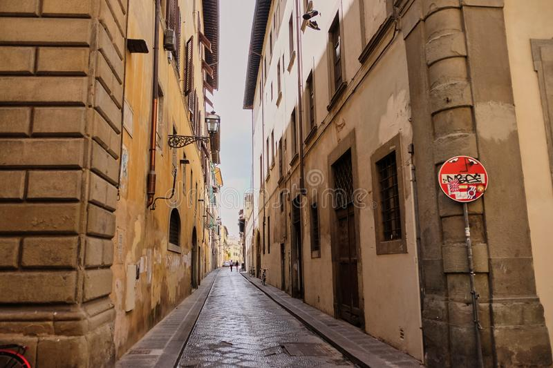 Funny traffic signs, Florence, Italy-March 30, 2018: No Entry and Dead End street signs in streets of Florence were animated by a. Local artist lively and royalty free stock image