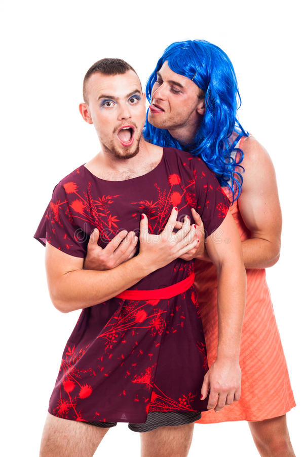 Funny transvestites having fun stock photos