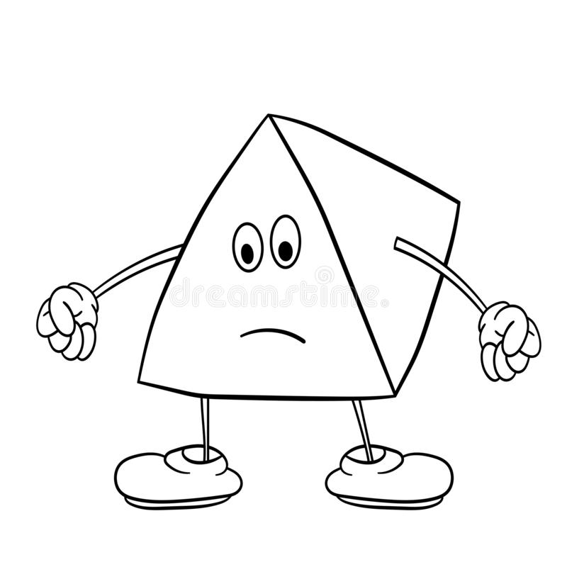 Funny triangle smiley with legs and eyes clenches his hands into fists. Coloring book for kids stock illustration