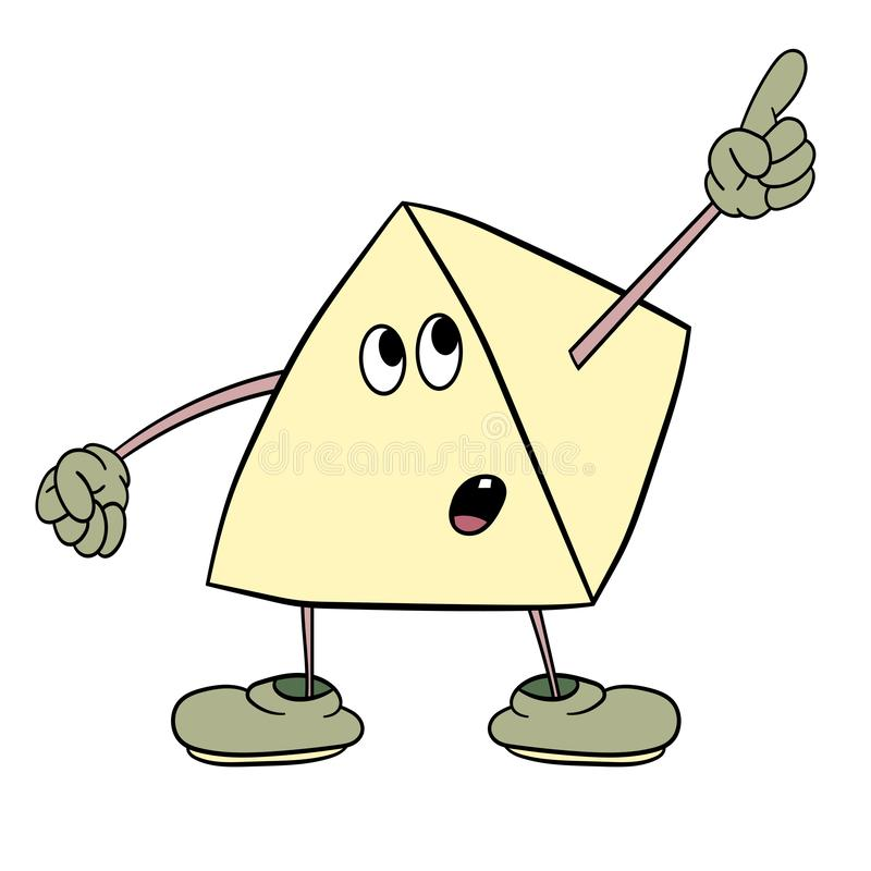 Funny triangle smiley with legs and eyes showing one finger up. Caricature color sketch stock illustration