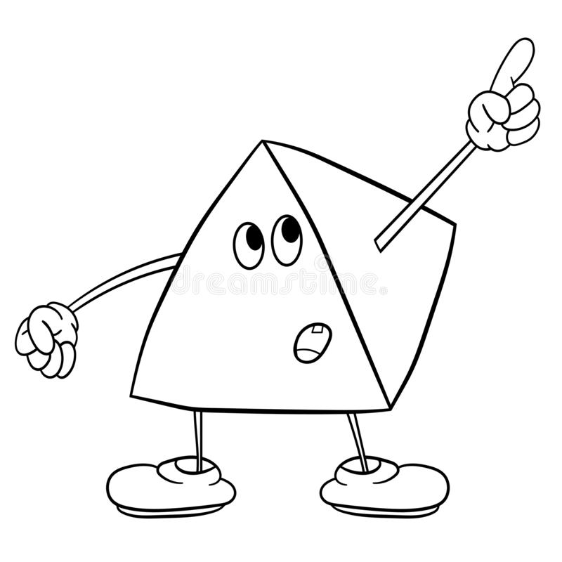 Funny triangle smiley with legs and eyes showing one finger up. Coloring book for kids royalty free illustration