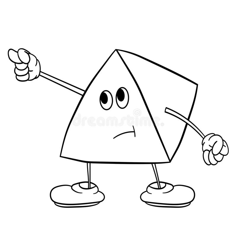 Funny triangle smiley with legs and eyes shows an indecent gesture. Coloring book for kids royalty free illustration