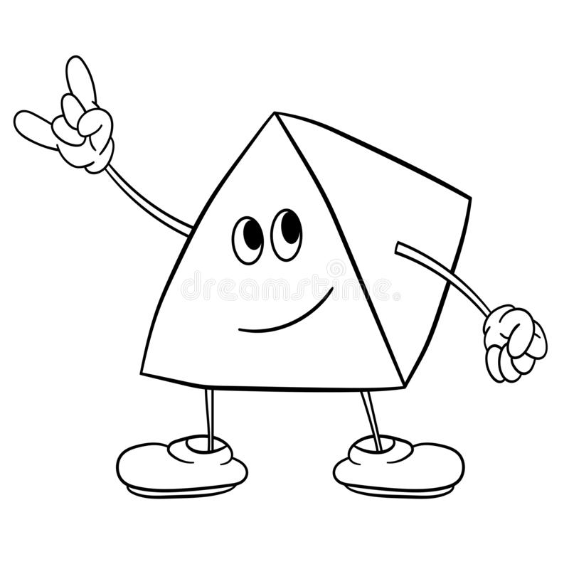 Funny triangle smiley with legs and eyes shows a victory sign. Coloring book for kids royalty free illustration