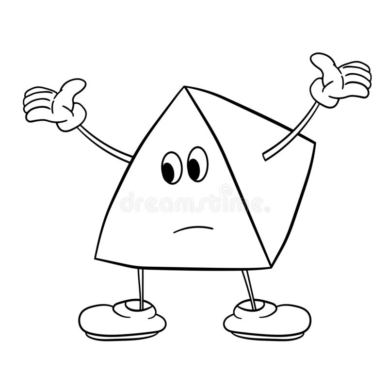 Funny triangle smiley with legs and eyes spreads his arms to the side. Caricature color sketch. Coloring book for kids vector illustration
