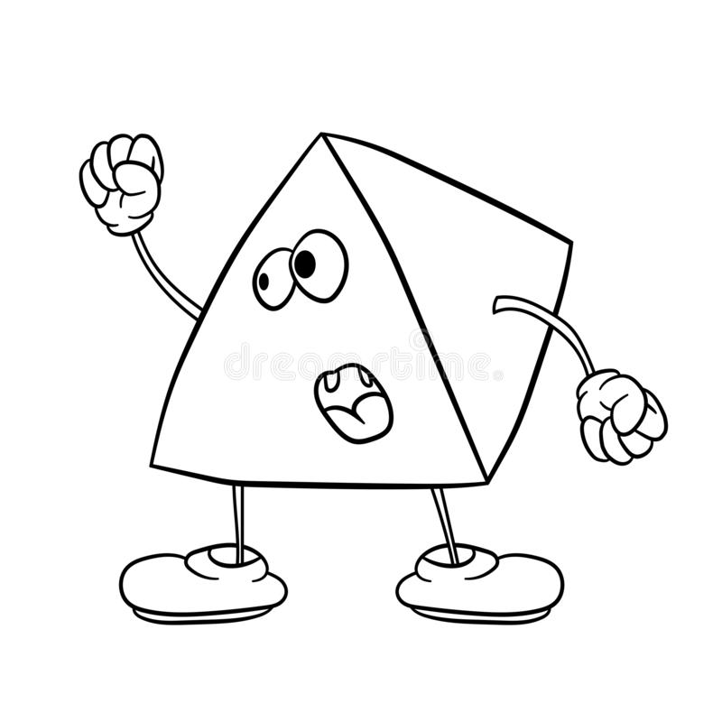 Funny triangle smiley with legs and eyes waving his fist and swearing. Coloring book for kids vector illustration