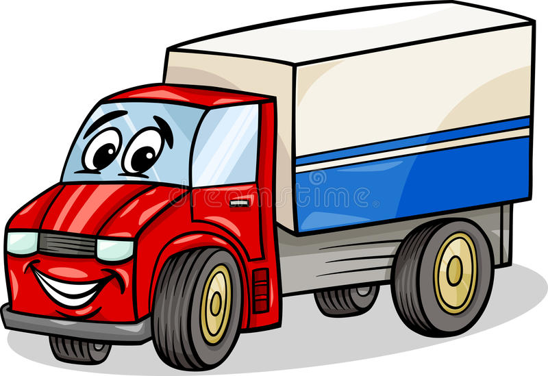 Funny truck car cartoon illustration. Cartoon Illustration of Funny Truck or Lorry Car Vehicle Comic Mascot Character vector illustration