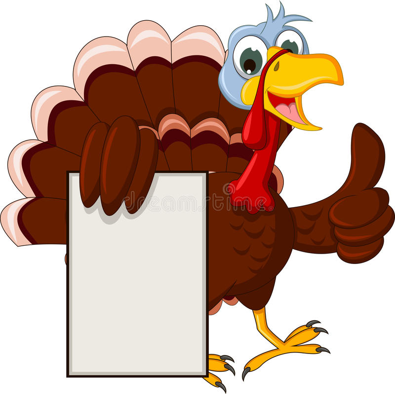 Funny turkey cartoon posing with blank sign. Illustration of funny turkey cartoon posing with blank sign stock illustration
