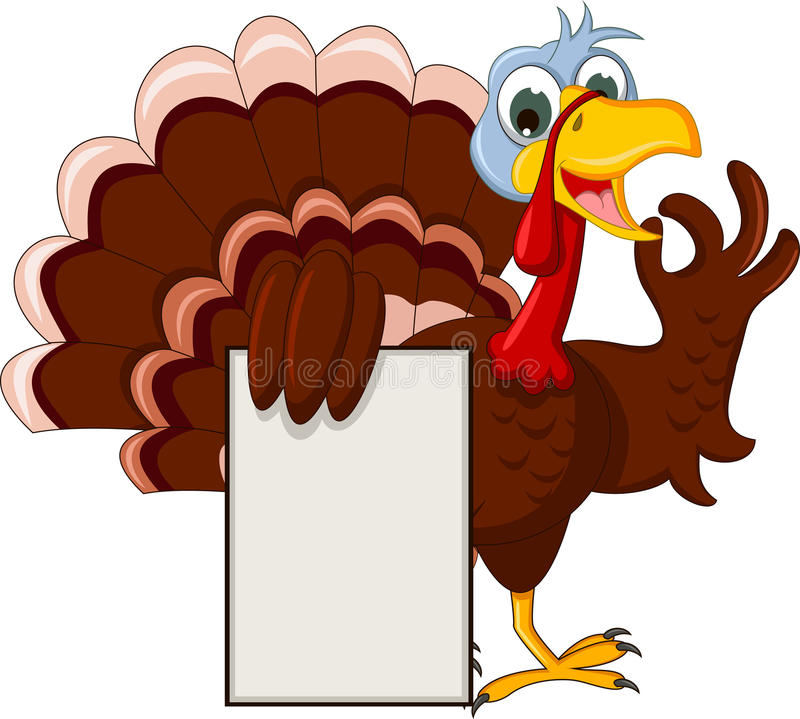 Funny turkey cartoon posing with blank sign. Illustration of funny turkey cartoon posing with blank sign royalty free illustration