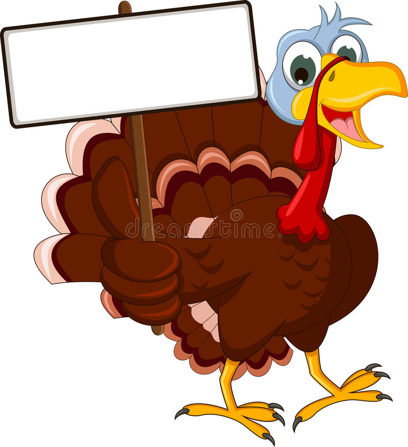Funny turkey cartoon posing with blank sign. Illustration of funny turkey cartoon posing with blank sign vector illustration