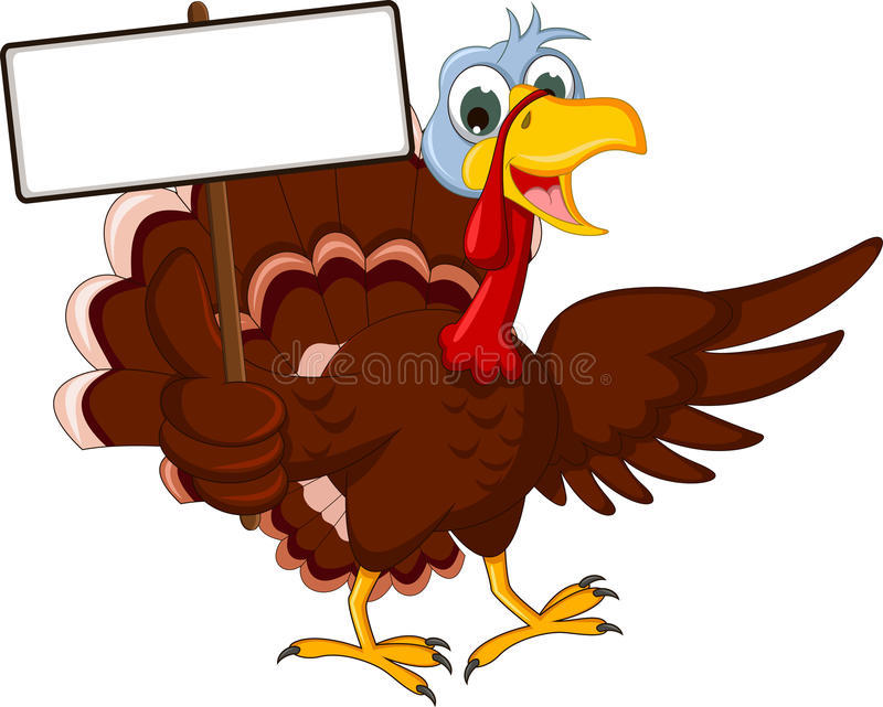 Funny turkey cartoon posing with blank sign. Illustration of funny turkey cartoon posing with blank sign royalty free illustration