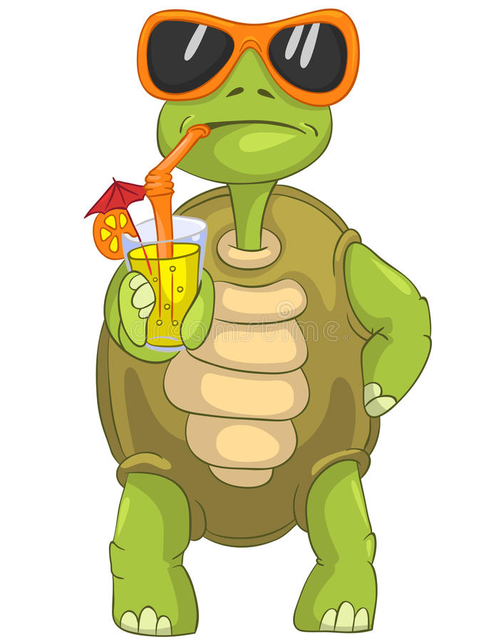 Funny Turtle Drinking Cocktail Stock Vector Image 24673774