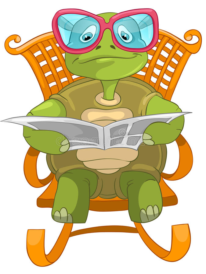 Funny Turtle Reading. Cartoon Character Funny Turtle Isolated on White Background. Vector EPS 10 vector illustration