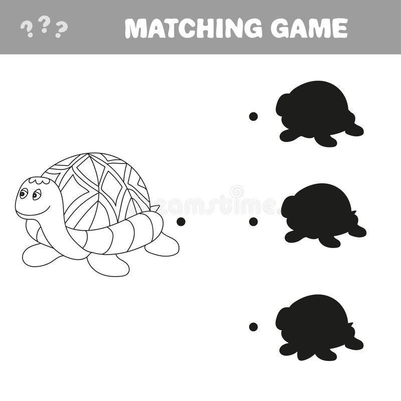 Funny turtle - shadow educational kids game. Vector illustration royalty free stock photos
