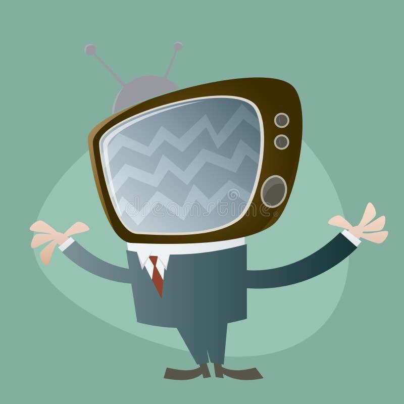 Funny tv head man. Illustration of a funny tv head man stock illustration