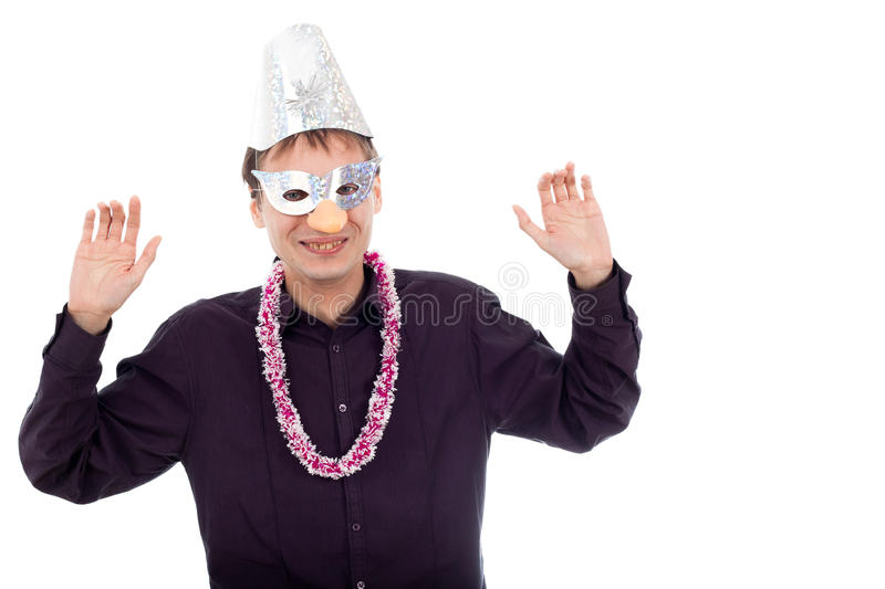 Funny ugly nerd man wearing party mask. Isolated on white background royalty free stock photos