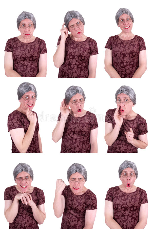Funny Ugly Old Lady Drama Queen Facial Expressions royalty free stock photography