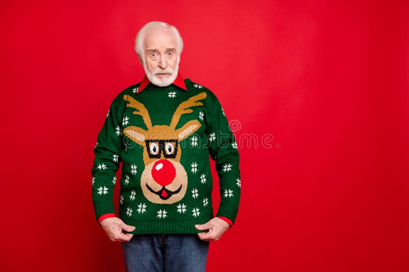 Is it funny ugly pullover for me. Portrait of negative upset old man get winter christmas tradition seasonal sweater for stock images