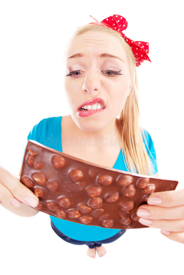 Download Funny Unhappy Girl With A Chocolate Stock Photo - Image: 27137500