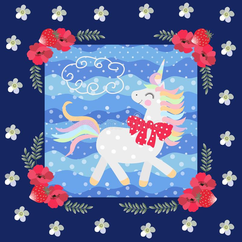 Funny unicorn with red bow on blue background with polka dots in a beautiful floral frame. Great collection. Patchwork pattern. For kids royalty free illustration