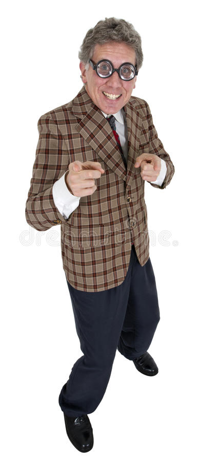 Funny Used Car Salesman Man, Isolated on White stock photography