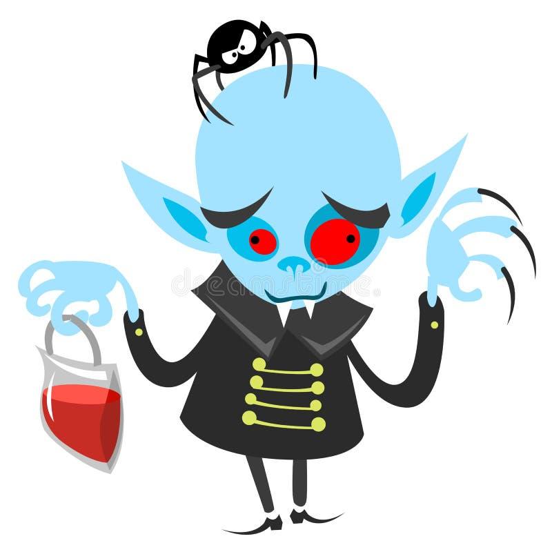 Funny vampire holding bag of blood. Halloween vector dracula illustration vector illustration