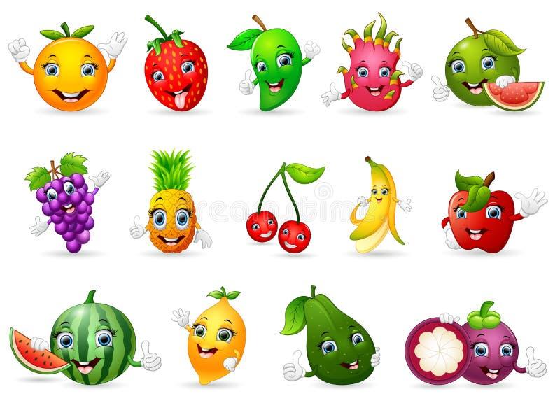 Funny various cartoon fruits stock illustration