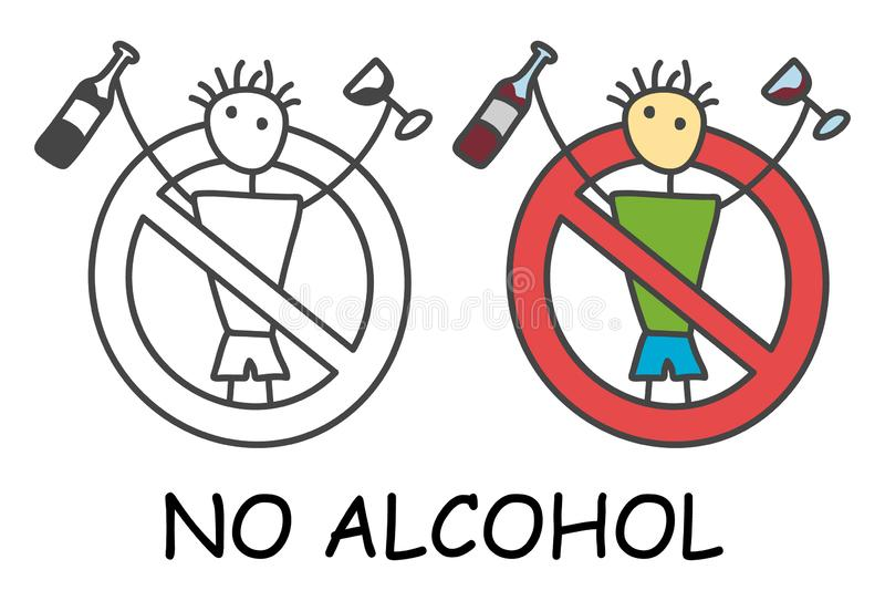 Funny vector alcoholic stick man with a alcohol drink in doodle style. No alcohol no drink sign red prohibition. Stop addiction. Funny vector alcoholic stick stock illustration