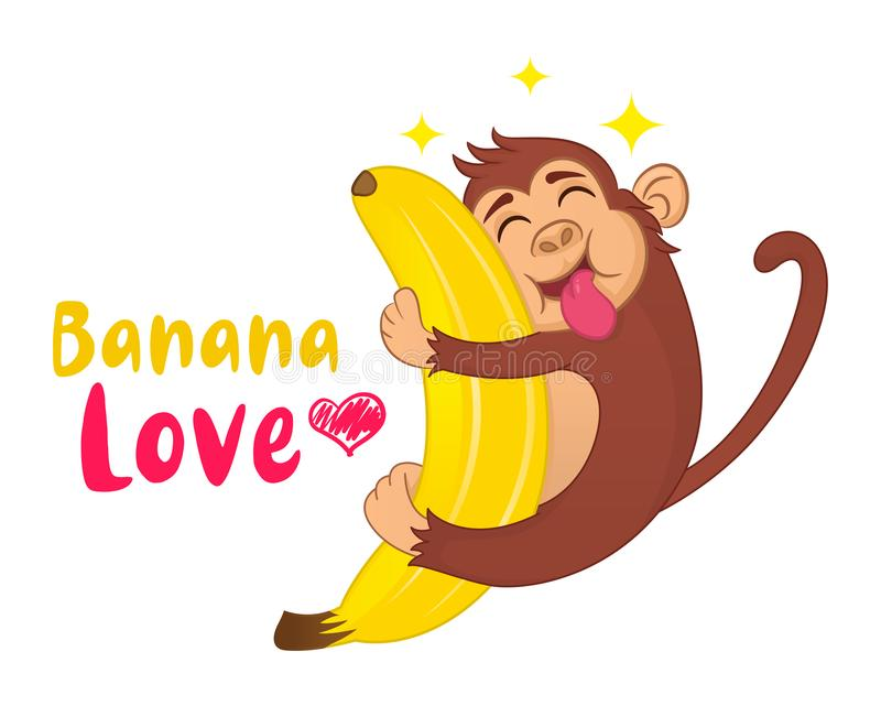 Illustration of Funny vector cartoon monkey hugging a banana with his tongue hanging out. Ð¡oncept of hungry animal. royalty free illustration