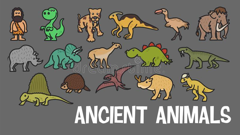 Funny vector cute ancient animal  icon set. Ice age stickers. Dinosaur web element characters. Funny vector cute ancient animal icon set. Ice age stickers stock illustration
