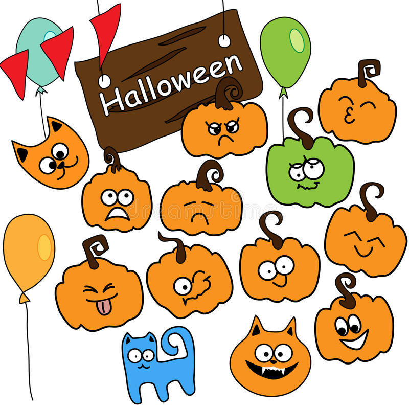Funny vector icons Halloween royalty free stock photography