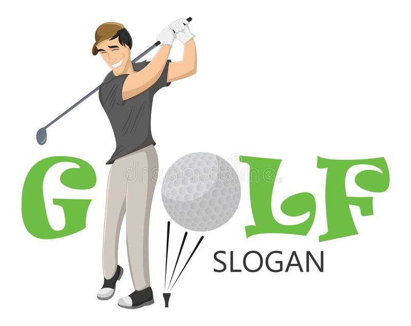 Funny vector illustration of happy golfer hitting the ball with a niblick. Professional golfer playing golf on the golf course. Co stock illustration