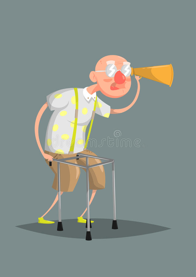 Funny vector illustration. Old man in glasses with a hard of hearing stock photos