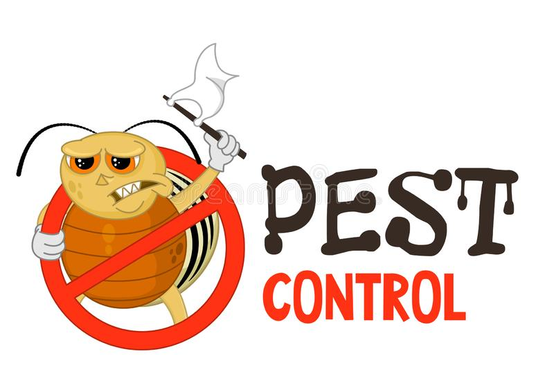 Funny vector illustration of pest control logo for fumigation business. Comic locked colorado potato beetle surrenders. royalty free illustration
