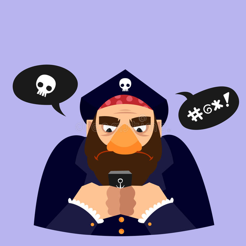 Funny vector illustration. Pirate texting stock image