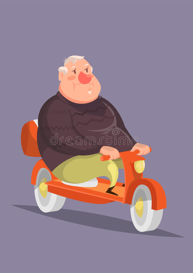 Funny vector illustration with a plump old man on motorbike royalty free stock images
