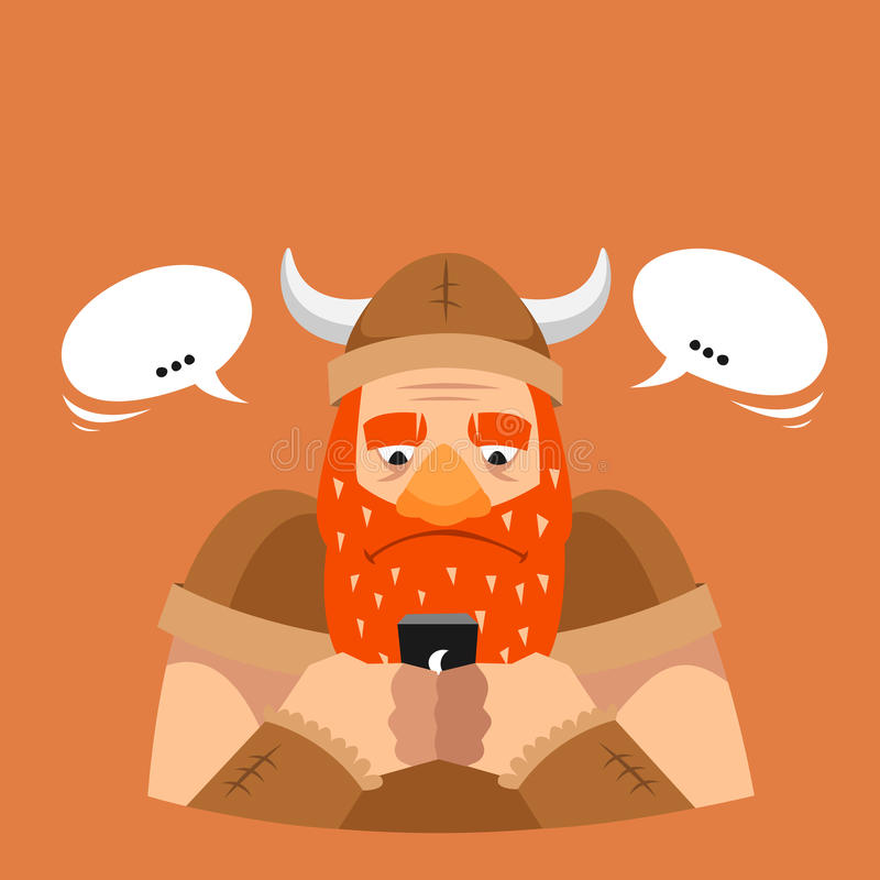 Funny vector illustration. Viking texting royalty free stock images