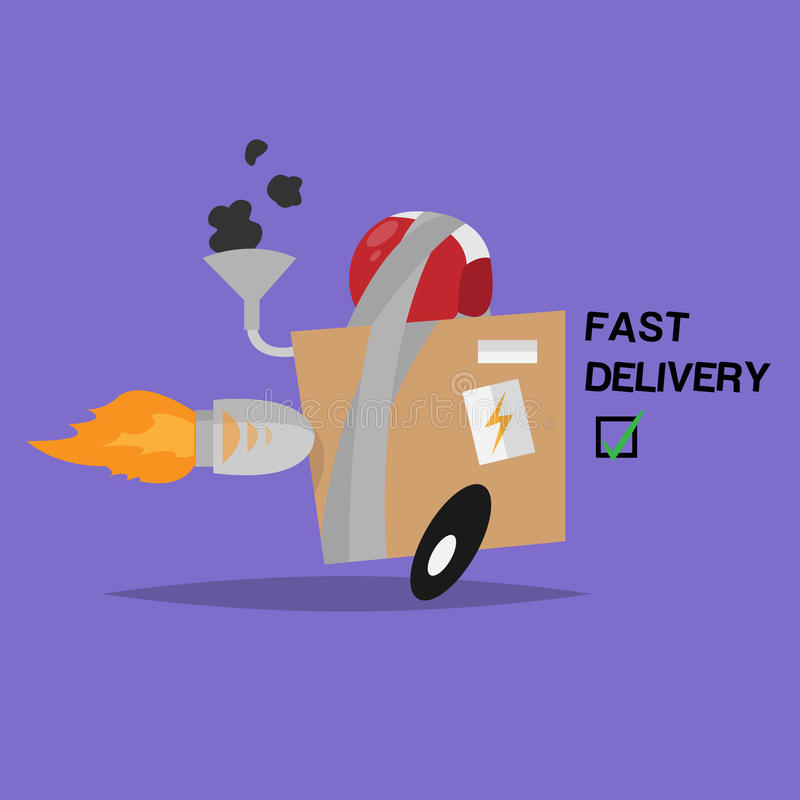 Funny vector object. Box. Fast delivery royalty free stock photo