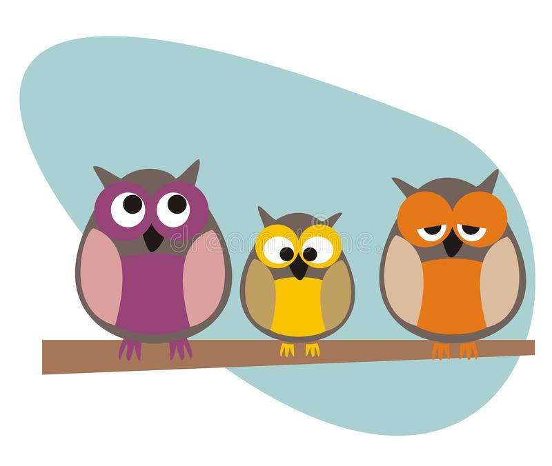 Download Funny Vector Owls Family Sitting On Branch Stock Photo - Image: 22863440