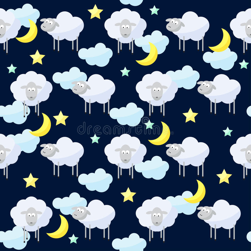 Funny vector pattern background with clouds, stars, moon and cut. Funny vector seamless pattern background with clouds, stars, moon and cute sheep, the symbol of vector illustration