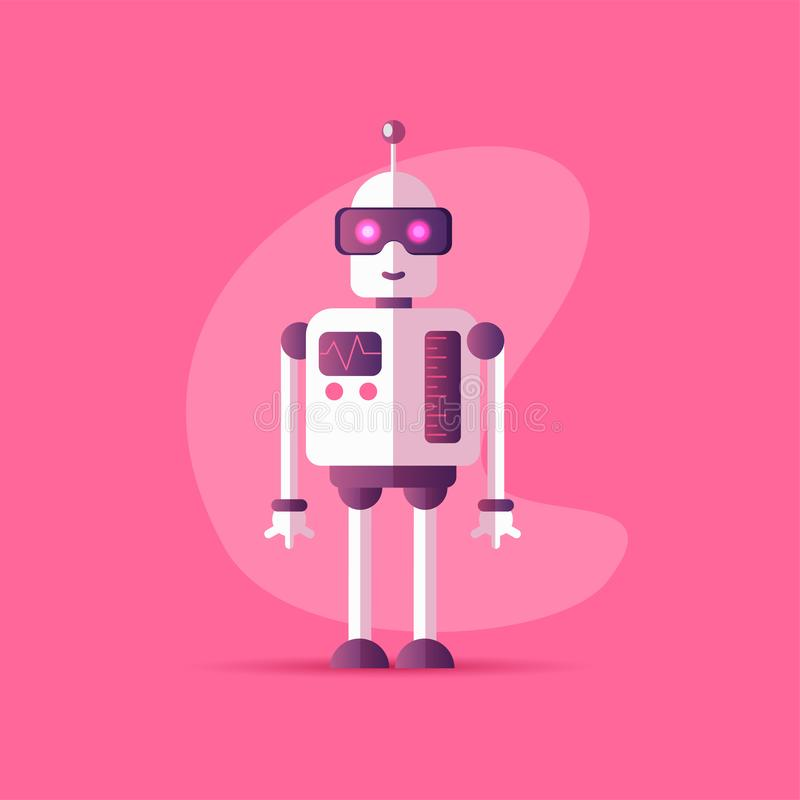 Funny vector robot icon in flat style isolated on pink background. Vector illustration of Chatbot icon with neon colors stock illustration