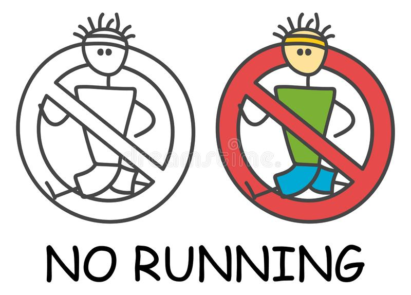 Funny vector runner stick man in children`s style. No run sign red prohibition. Stop symbol. Prohibition icon sticker. stock illustration