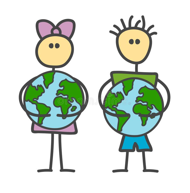 Funny vector stick boy and girl Hugging Earth in children`s style. Happy Earth Day, World Environment Day, Save the earth. vector illustration