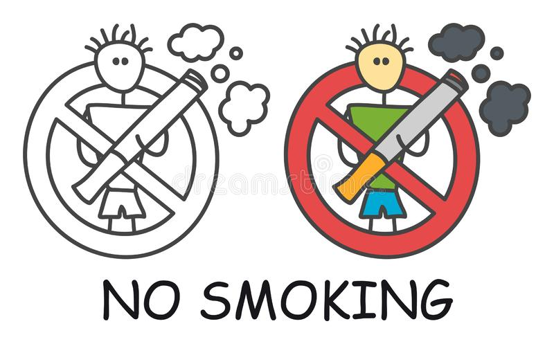 Funny vector stick man with a cigarette in doodle style. No smoking sign red prohibition. Stop symbol. Prohibition icon sticker. vector illustration
